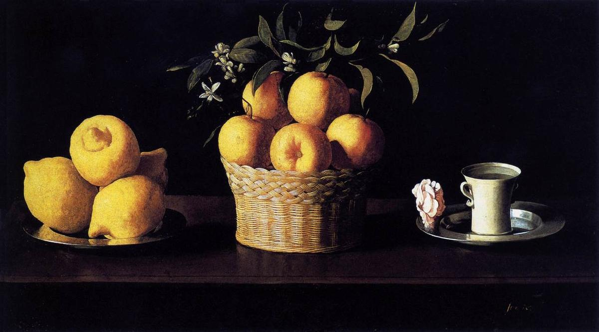 Buy Museum Art Reproductions | Still Life with Lemons, Oranges and Rose by Francisco Zurbaran | Most-Famous-Paintings.com