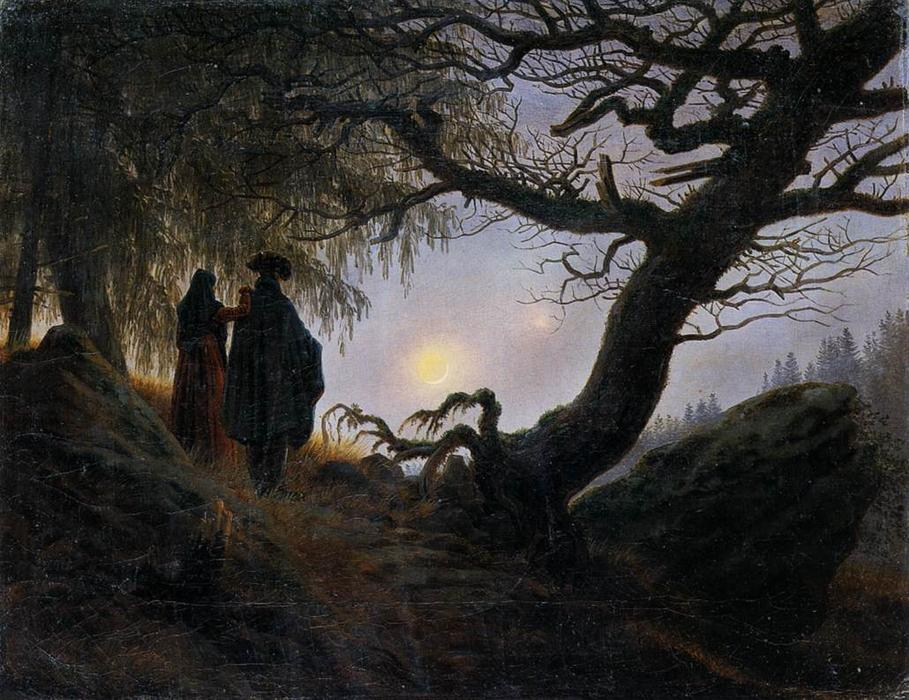 famous painting Man and Woman Contemplating the Moon of Caspar David Friedrich