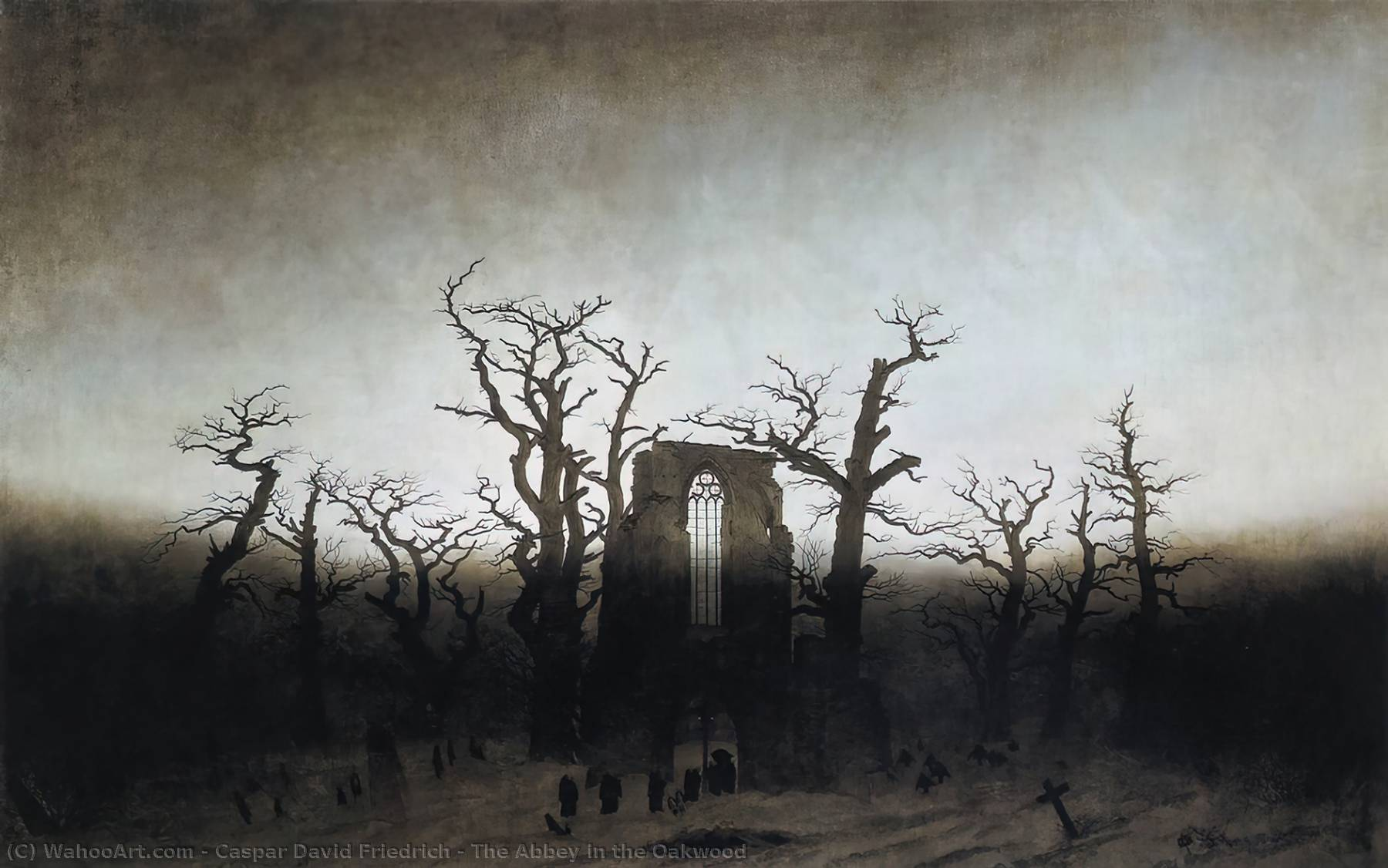 Buy Museum Art Reproductions | The Abbey in the Oakwood by Caspar David Friedrich | Most-Famous-Paintings.com