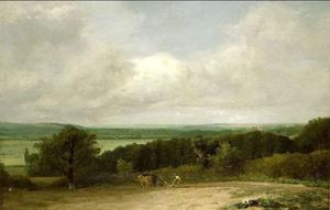 John Constable - Wooded Landscape with a ploughman