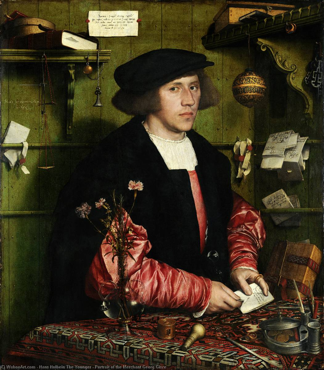 famous painting Portrait of the Merchant Georg Gisze of Hans Holbein The Younger
