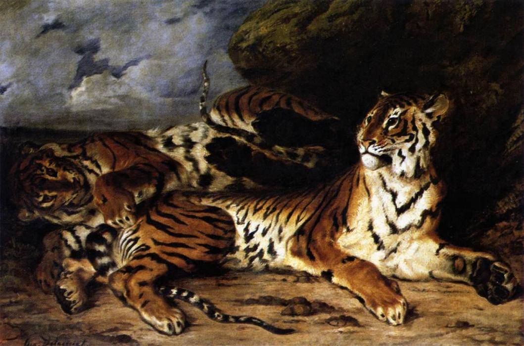 famous painting A Young Tiger Playing with its Mother of Eugène Delacroix