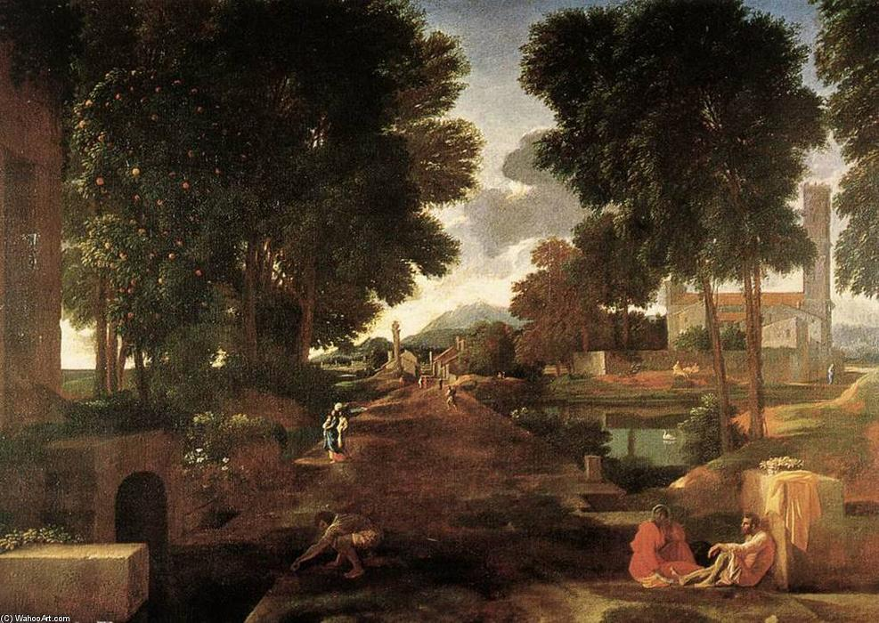 Buy Museum Art Reproductions | A Roman Road by Nicolas Poussin | Most-Famous-Paintings.com