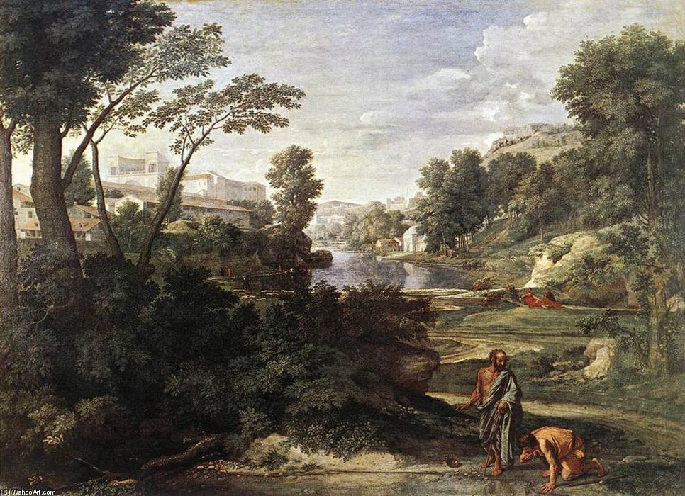 Order Art Reproductions | Landscape with Diogenes by Nicolas Poussin | Most-Famous-Paintings.com