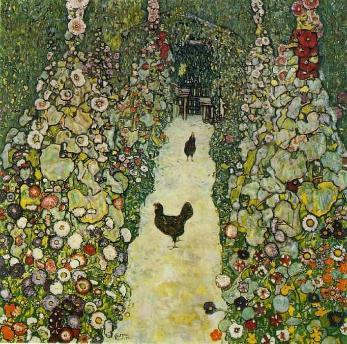 famous painting Garden Path with Chickens of Gustav Klimt