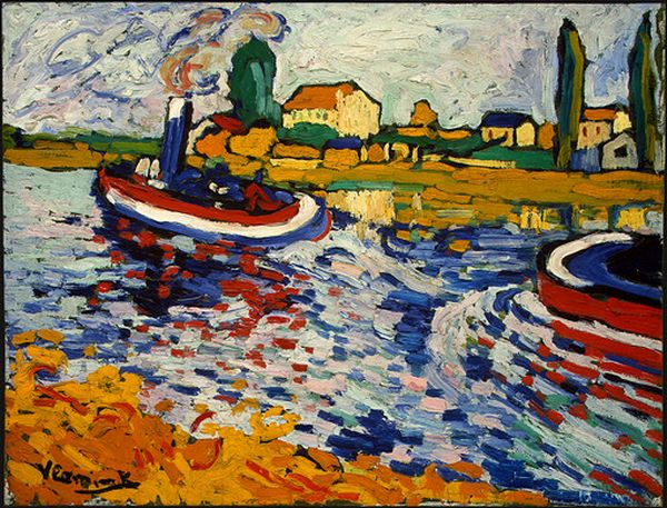 | Tugboat on the Seine, Chatou by Maurice De Vlaminck | Most-Famous-Paintings.com