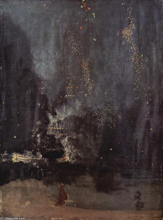Buy Museum Art Reproductions | Nocturne in Black and Gold, The Falling Rocket by James Abbott Mcneill Whistler | Most-Famous-Paintings.com