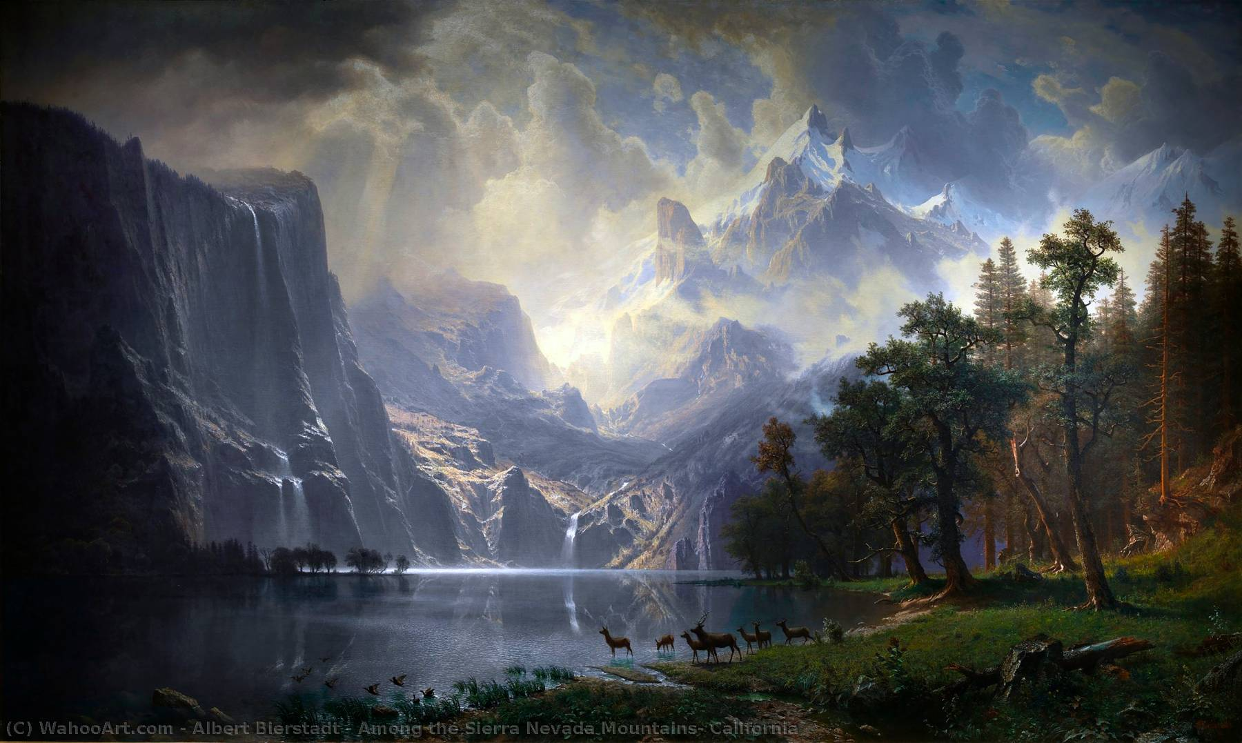 famous painting Among the Sierra Nevada Mountains, California of Albert Bierstadt