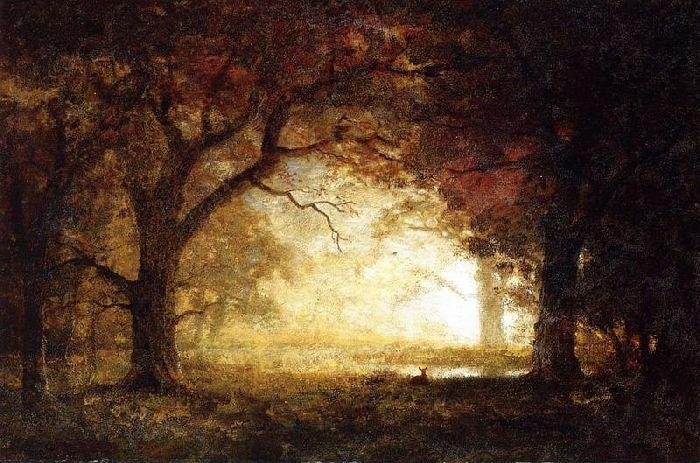 Order Paintings Reproductions | Forest Sunrise by Albert Bierstadt | Most-Famous-Paintings.com