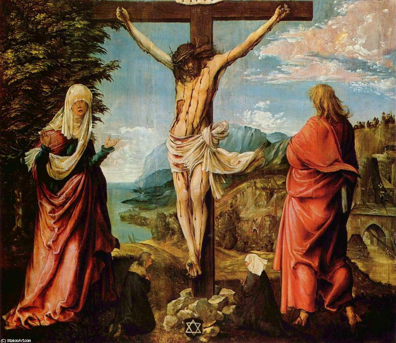 famous painting Crucifixion scene, Christ on the Cross with Mary and John of Albrecht Altdorfer