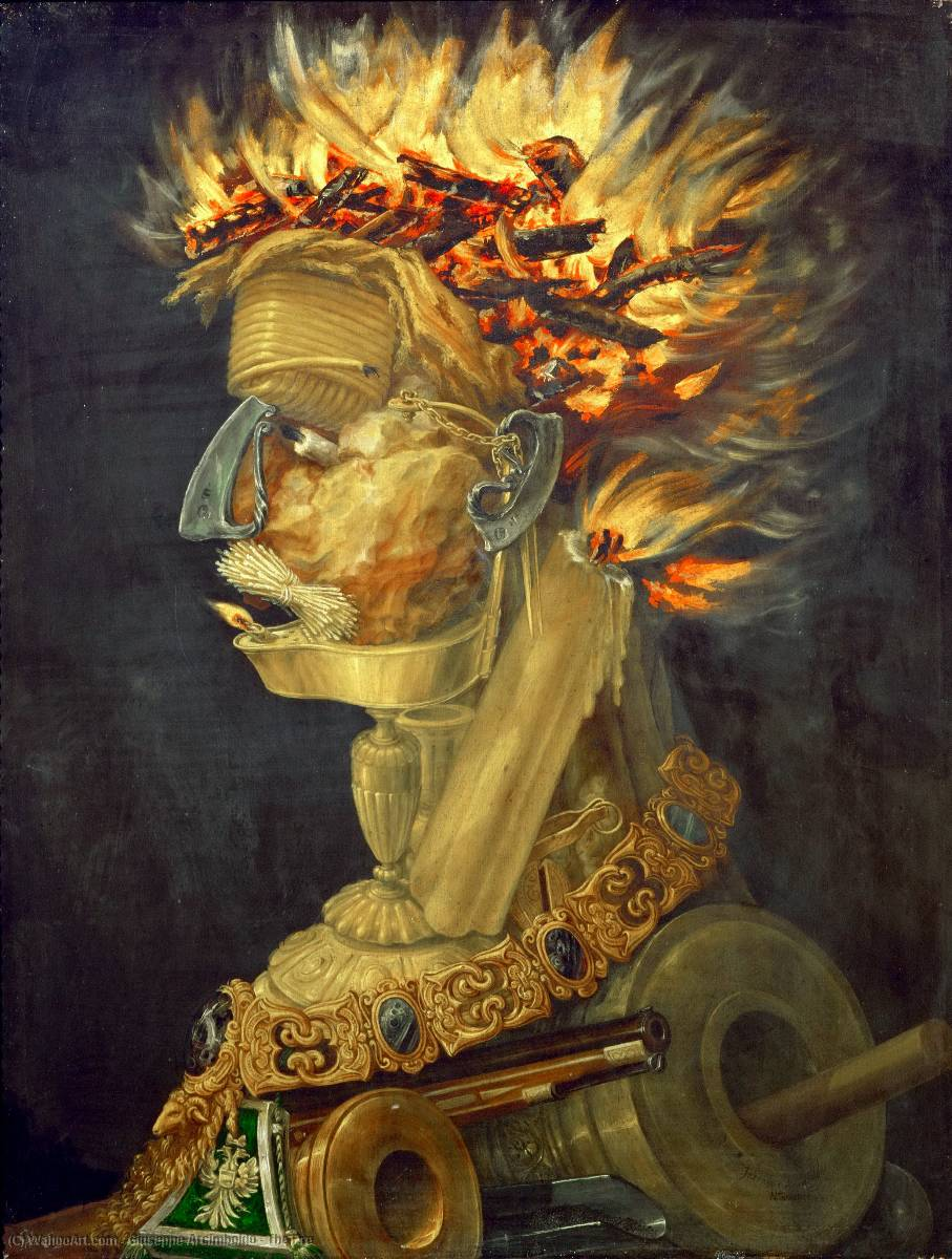 Buy Museum Art Reproductions | The Fire by Giuseppe Arcimboldo | Most-Famous-Paintings.com
