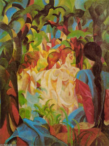 August Macke - Girls Bathing with Town in Background