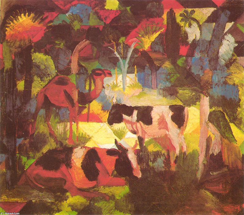 Order Paintings Reproductions | Landscape with Cows and Camel by August Macke | Most-Famous-Paintings.com