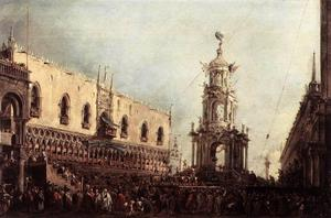 Francesco Lazzaro Guardi - Carnival Thursday on the Piazzetta