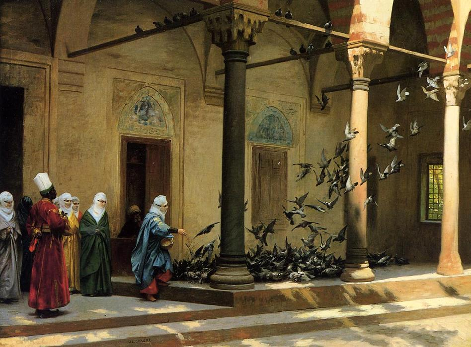 famous painting Harem Women Feeding Pigeons in a Courtyard of Jean Léon Gérôme
