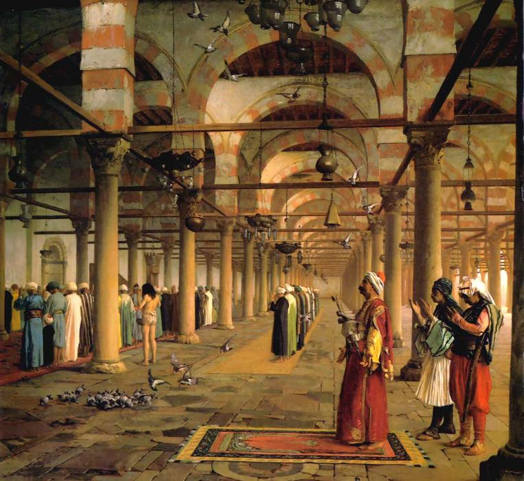 famous painting Public Prayer in the Mosque of Amr, Cairo of Jean Léon Gérôme