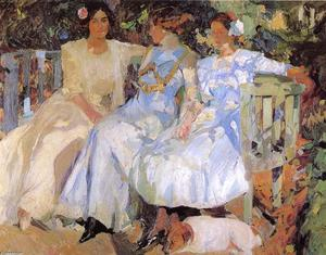 Joaquin Sorolla Y Bastida - My Wife and Daughters in the Garden