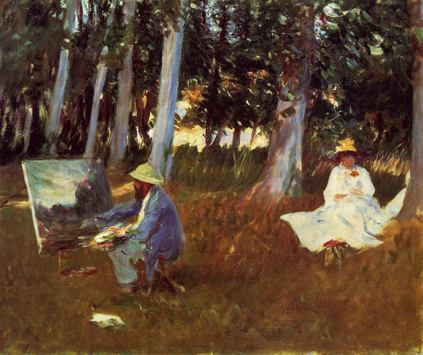 Buy Museum Art Reproductions | Claude Monet Painting by the Edge of a Wood by John Singer Sargent | Most-Famous-Paintings.com