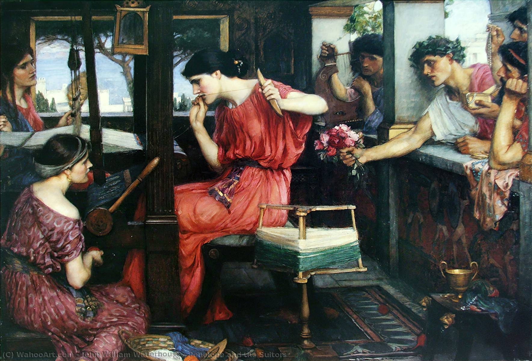 Order Art Reproductions | Penelope and the Suitors by John William Waterhouse | Most-Famous-Paintings.com
