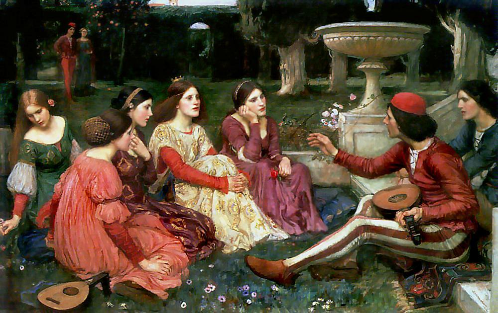 famous painting Tale from the Decameron of John William Waterhouse