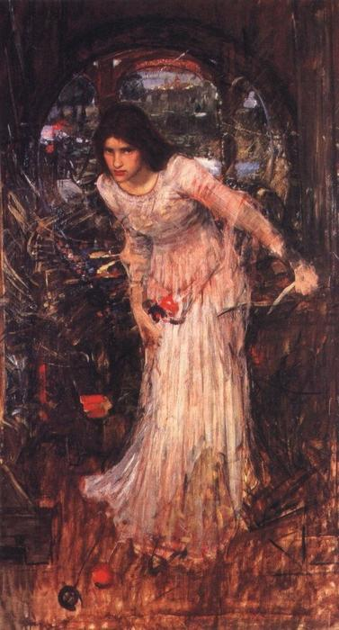 famous painting The lady of shalott study of John William Waterhouse