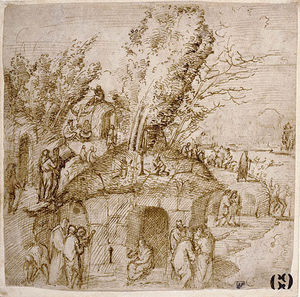 Lorenzo Costa (The Elder) - A Thebaid. Monks and Hermits in a Landscape