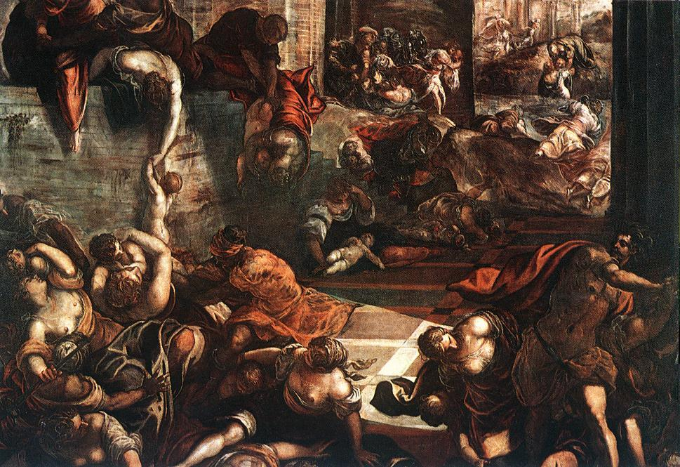 famous painting The Slaughter of the Innocents of Tintoretto (Jacopo Comin)
