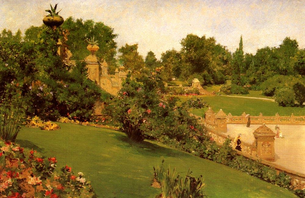 Order Reproductions | Terrace at the Mall, Central Park by William Merritt Chase | Most-Famous-Paintings.com