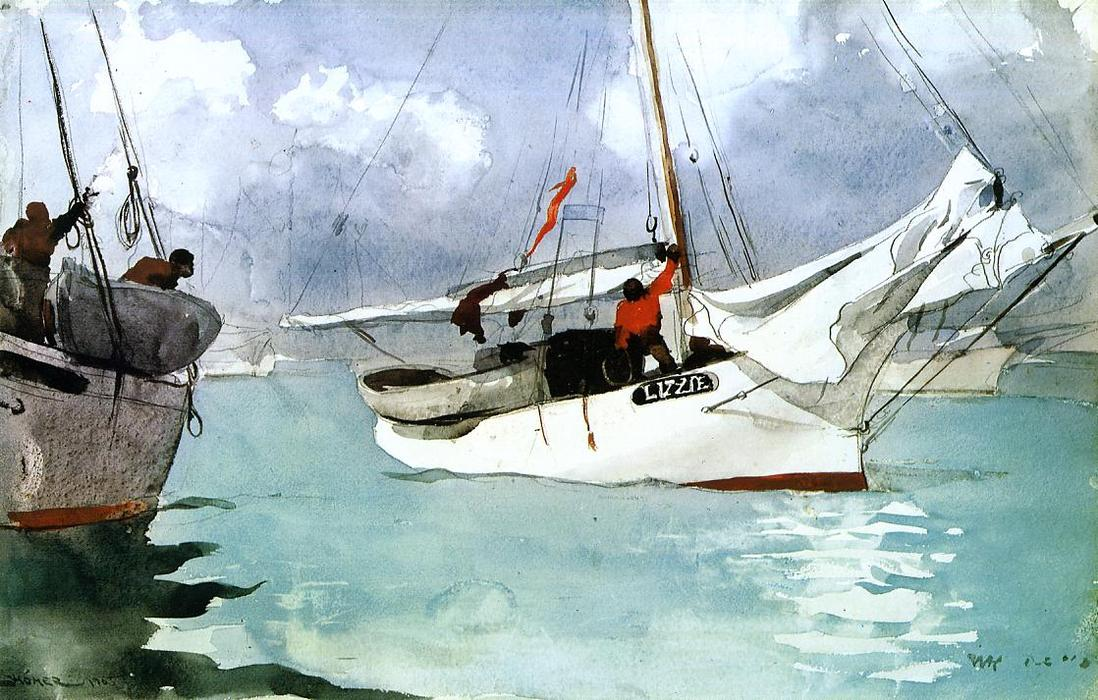 Order Paintings Reproductions | Fishing Boats, Key West by Winslow Homer | Most-Famous-Paintings.com
