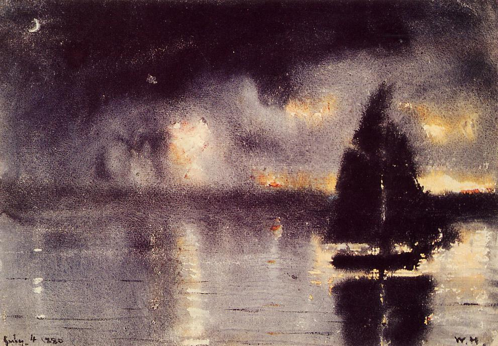 Sailboat and Fourth of July Fireworks by Winslow Homer | Art