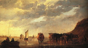 Aelbert Jacobsz Cuyp - Herdsman with Cows by a River