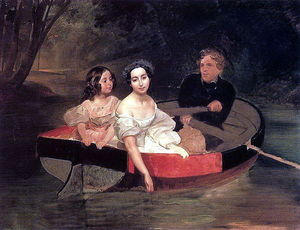 Karl Pavlovich Bryullov - Self-portrait with Baroness Ye. N. Meller-Zakomelskaya and a Girl in a Boat. (Unfinished)