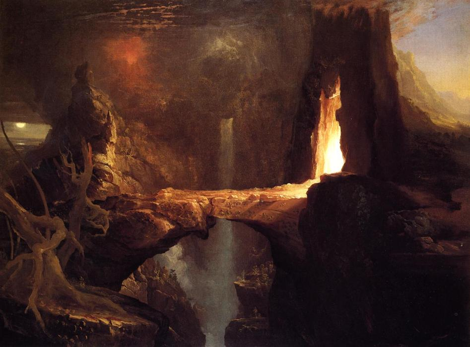 Order Art Reproductions | Expulsion. Moon and Firelight by Thomas Cole | Most-Famous-Paintings.com