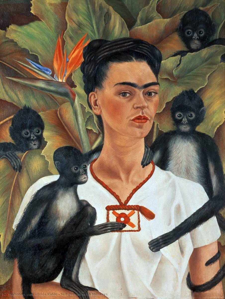 famous painting Self-Portrait with Monkeys of Frida Kahlo