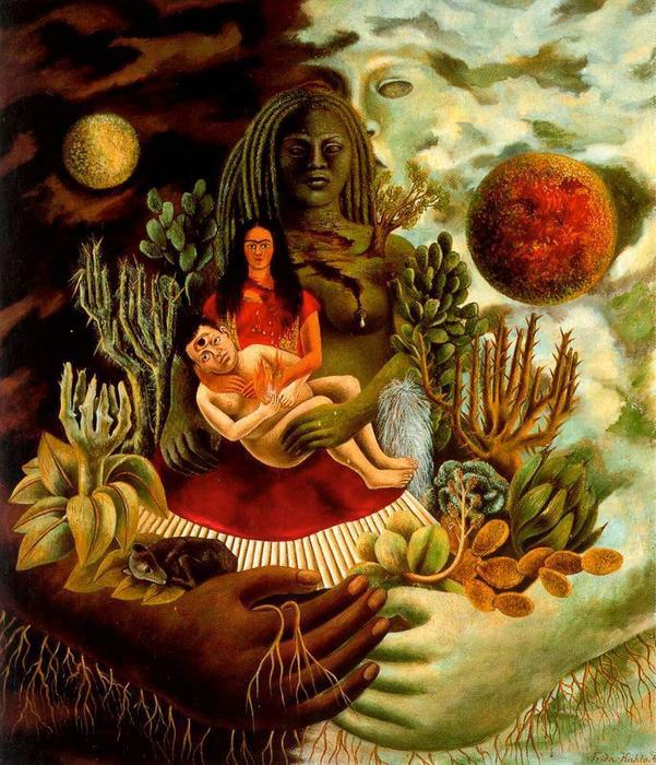 | The Love Embrace of the Universe, The earth (Mexico), Myself, Diego and Señor Xó by Frida Kahlo | Most-Famous-Paintings.com