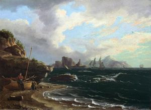 Thomas Birch - Figures with Docked Boat at Shoreline