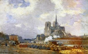 Albert-Charles Lebourg (Albert-Marie Lebourg) - Notre Dame de Paris, View from the Quai de la Tournelle