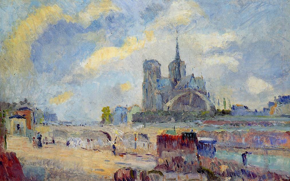 famous painting Notre-Dame de Paris and the Bridge of the Archeveche of Albert-Charles Lebourg (Albert-Marie Lebourg)