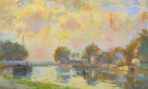 Albert-Charles Lebourg (Albert-Marie Lebourg) - The Banks of the Canal at Charenton, Sunny Autumn Afternoon