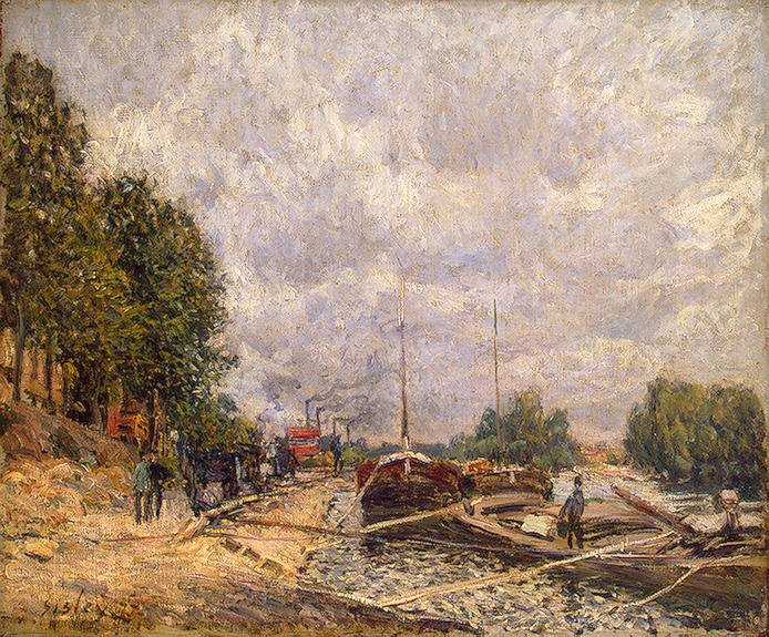 famous painting Barges at Billancourt of Alfred Sisley