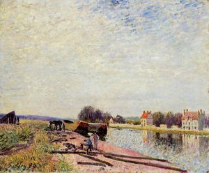 Alfred Sisley - Barges on the Loing, Saint Mammes