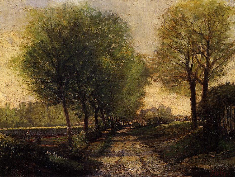 famous painting Lane near a Small Town of Alfred Sisley