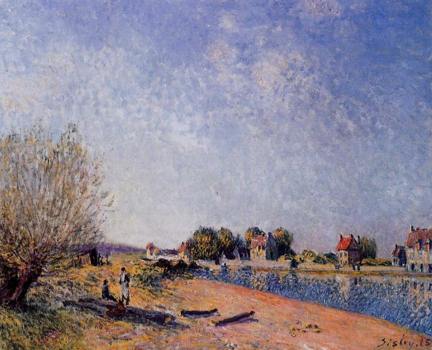 famous painting Loing Canal at Saint Mammes of Alfred Sisley