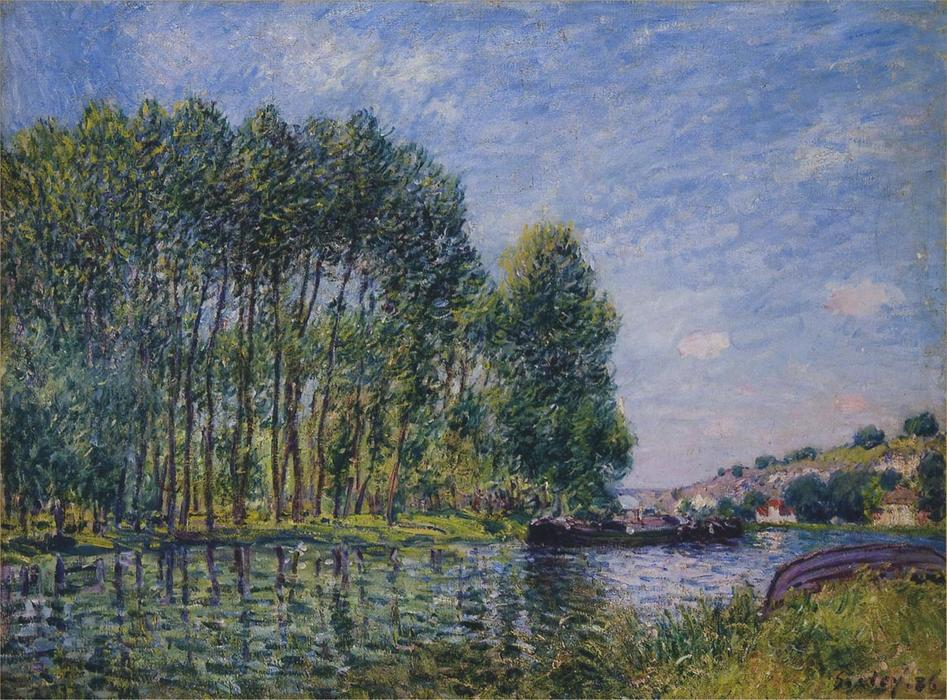 famous painting Spring on the Loing River of Alfred Sisley