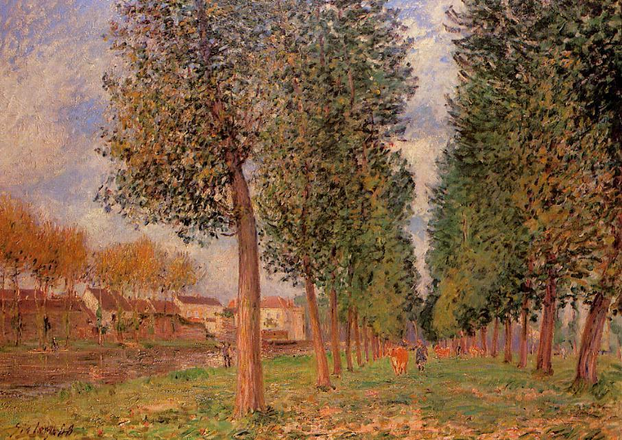 Order Art Reproductions | The Poplar Avenue at Moret, Cloudy Day, Morning by Alfred Sisley | Most-Famous-Paintings.com