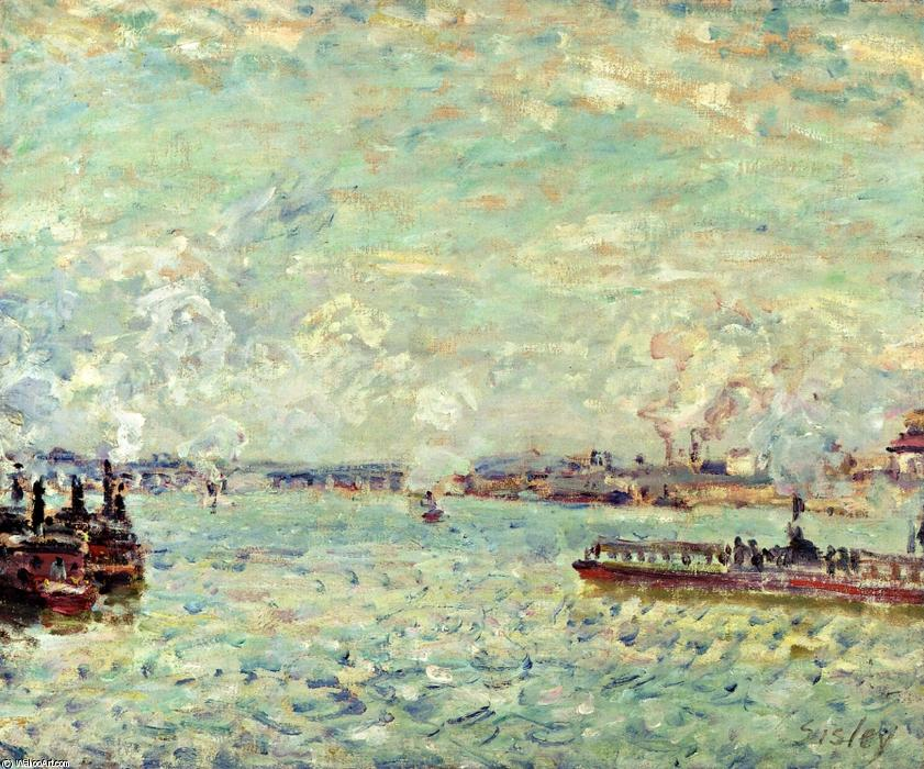 Order Reproductions | The Seine at Point du Jour by Alfred Sisley | Most-Famous-Paintings.com