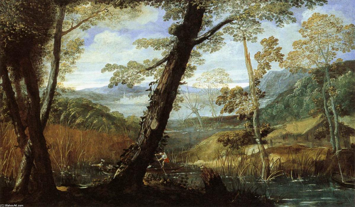 Buy Museum Art Reproductions | River Landscape by Annibale Carracci | Most-Famous-Paintings.com