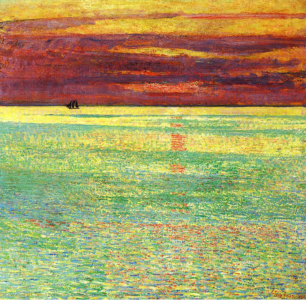 Order Paintings Reproductions : Sunset at Sea by Frederick Childe Hassam | Most-Famous-Paintings.com