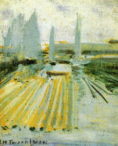 John Henry Twachtman - Fog and Small Sailboats