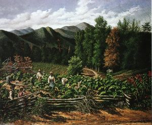 William Aiken Walker - Tobacco Field with Five Figures (North Carolina)